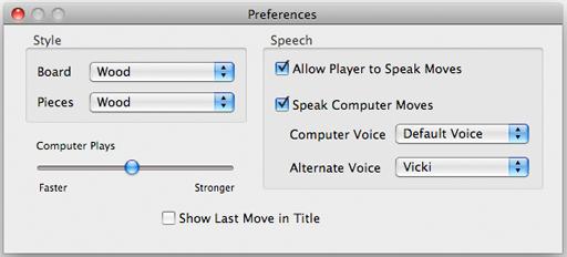 Apple Mac Chess Preference window